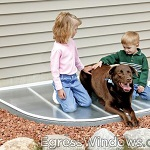 Thermal egress window cover keeps children and pets from falling into a window well.